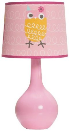 Zutano Owl Lamp Base And Shade, Pink front-859928
