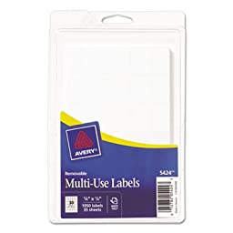 Self-Adhesive Removable Multi-Use Labels, 5/8 x 7/8, White, 1000/Pack, Sold as 1000 Each