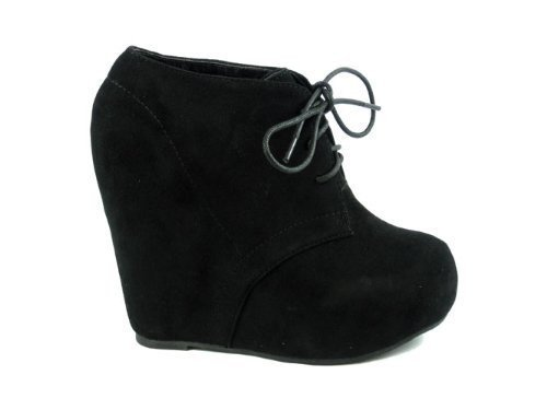 Lace Up Platform Wedge Bootie (7.5, Black)
