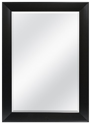 MCS Black Wedge Rectangular Wall Mirror, 30-Inch by 42-Inch