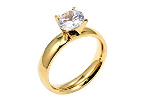 Stainless Steel Gold Plated Engagement Ring 2 Carats Total Weight Includes a Gift Box & Special Pouch (8)