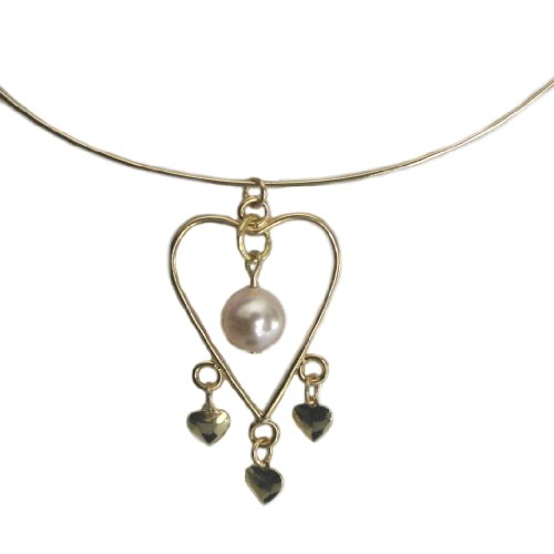 Adjustable Wire Heart Collar Necklace with Peach SWAROVSKI ELEMENTS Pearl