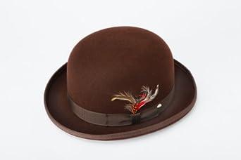 New Mens 100% Wool Brown Derby Bowler Hat