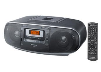 Panasonic RX-D55GC-K Boombox - High Power MP3 CD AM/ FM Radio Cassette Recorder with USB & Music Port High Quality Sound with 2-Way 4-Speaker (Black)