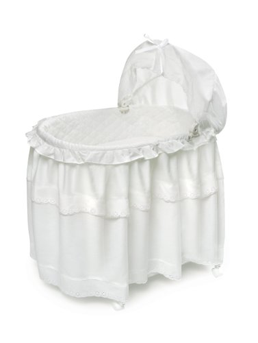 Badger Basket Floor Length Skirt Portable Bassinet N Cradle with Toybox Base, White