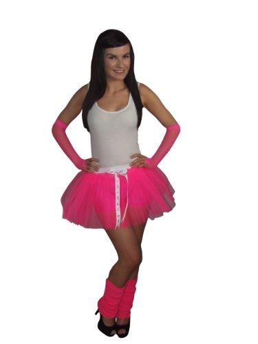 Honey B's® Neon Pink Barbie Tutu Skirt Leg Warmers Gloves Bow Jewel Detail Women 18-20