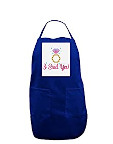 buy Tooloud I Said Yes - Diamond Ring - Color Panel Dark Adult Apron - Royal - One-Size