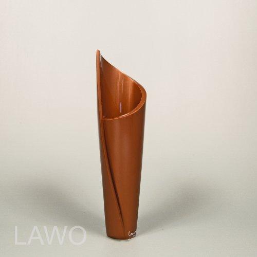 LAWO 104383 Vaso Design Laccato NATASA marrone Moderno Art Deco Vaso per Fiori Esclusivo Vaso di Legno