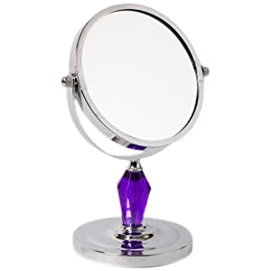 AQ JL-0268-MIR Laura Chrome and Violet Acrylic Adjustable 4x Mag Midi Vanity Mirror, Purple, 5-Inchx4.25-Inchx8-Inch