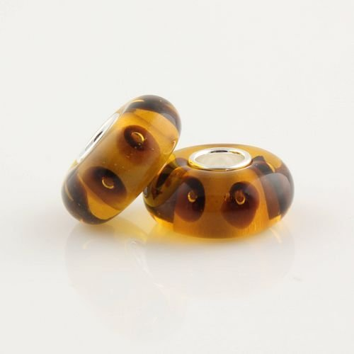 General Gifts Gold And Brown Murano Style Glass Bead Solid 925 Sterling Silver Core For Pandora, Biagi, Chamilia, Troll And More Bracelets