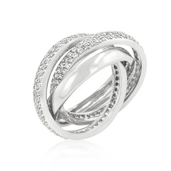 White Gold Rhodium Bonded Eternity Band Triplet with Round Cut Clear Cubic Zirconia Accents in Silvertone