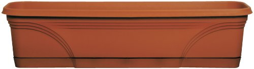 Dynamic Design MB3612TC Medallion Deluxe 36-Inch Poly Window Box with Saucer, Terra Cotta