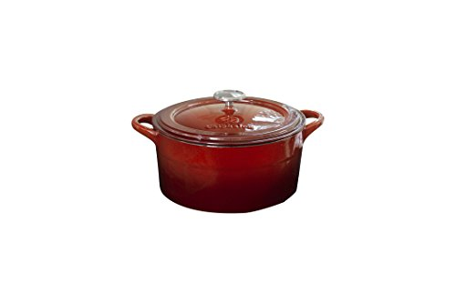 Calphalon Enameled Cast Iron Cookware Dutch Oven with Lid, 7 qt., Red