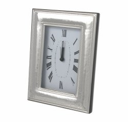Hammered Sterling Silver Alarm Clock for Anniversary, Weddings & Holidays - 5 X 6 1/2 Inch