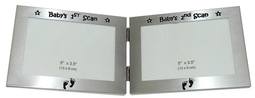 "Baby's 1st Scan Picture & Baby's 2nd Scan Picture ' - Twin Folding Expressions Photo Picture Frame Baby Christening Gift - 5 x 3.5 "" - Brushed Aluminium Satin Silver Color - 1"