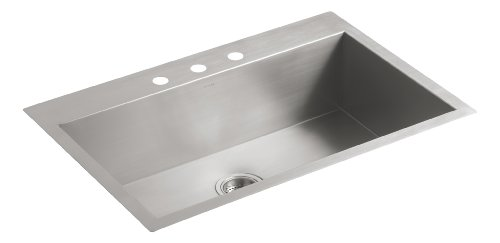 Kohler K-3821-3-NA Vault Large Single Kitchen Sink with Three-Hole Faucet Drilling, Stainless Steel