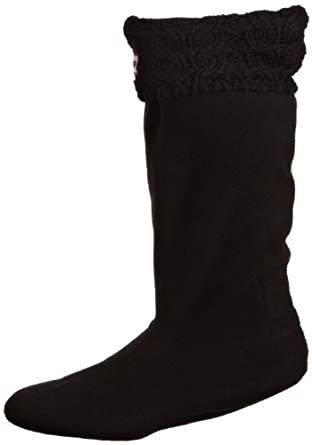 Hunter Kids Chunky Cable Welly Unisex Adult Socks Black Small