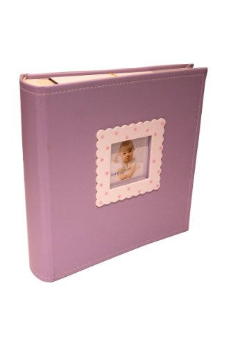 Dennis Daniels Baby Bound Photo Album with Polka Dot Window and Stitched Cloth Lavender Cover