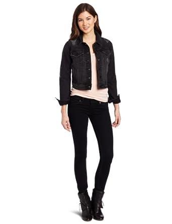 (超靓)李维斯Levi's Authentic Trucker Slim Fit Jacket女士牛仔外套 黑色 31.9