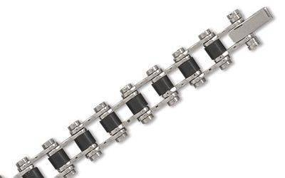 Bike Chain Bracelet - Stainless Steel and Rubber 7.5