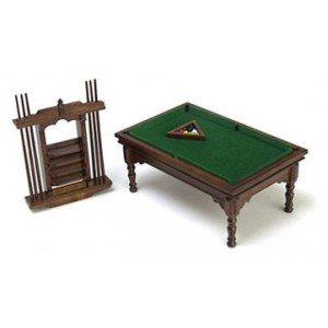 Dollhouse Walnut Pool Table Set