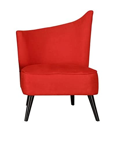 Armen Living Elegant Accent Chair with Flared Back Left Side, Red