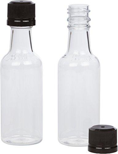 (12) Mini Liquor Bottles 50ml Black mini empty plastic Alcohol shot bottles (Black) (50 Ml Liquor Bottles compare prices)