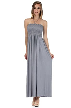 Sakkas 5026 Comfortable Jersey Feel Solid Color Smocked Bodice String Halter Maxi / Long Dress - Gray / Small