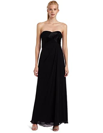 ABS Allen Schwartz Women's Strapless Chiffon Tucked Gown, Black, 0