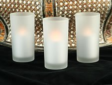 Battery Operated Frosted Round Glass Votive (Set Of 3) - Candle Impressions