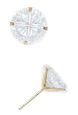 14k Yellow Gold 10mm 4 Segment Round CZ Light Prong Set Earrings - JewelryWeb