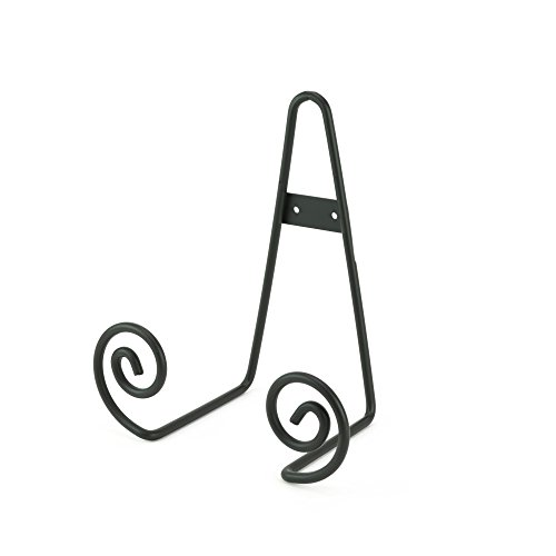 Malibu 7.5 Inch Tall Black Iron Scroll Design Table Top or Wall Mount Display Stand Easel For Picture Frames , Collectibles , Plates, Books Signage, Table Numbers and Tiles (Iron Stand Table compare prices)