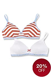 2 Pack Angel Cotton Rich Assorted Non-Wired AA-C Bras