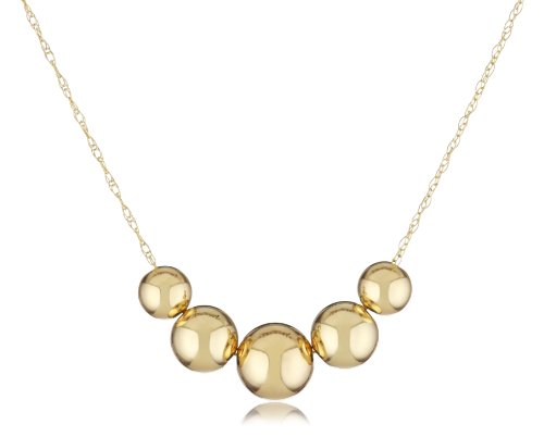 Duragold 14k Yellow Gold Five Bead Station Necklace