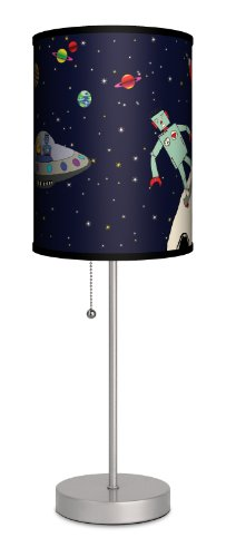 """Featured Artists - Carrie Masters """"Robots in Space"""" Sport Silver Lamp"""