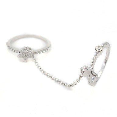 PEISHI J Diamond Women's Chain Ring(Color Random, Random Size)