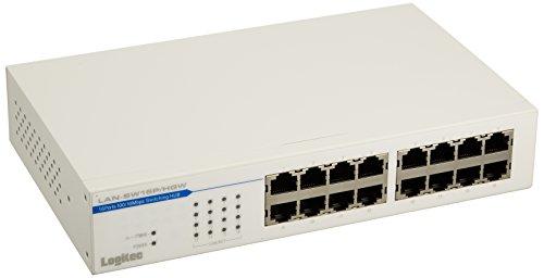 Logitec スイッチングハブ 16ポート メタルケース 電源内蔵 【動作時環境温度50℃対応】 LAN-SW16P/HGW