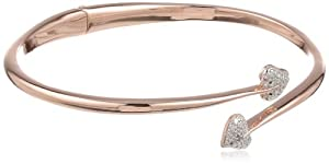 Bronze and 18k Rose Gold Plated Two-Tone Bypass White Heart Bangle Bracelet, 7.25