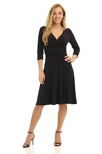 Rekucci Women's Slimming 3/4 Sleeve Fit-and-Flare Crossover Tummy Control Dress (16,Black)