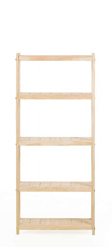 Super Strong Solid Wood Adjustable Bookshelf Narrow - 5 Shelf Unit - 60 Inches Tall