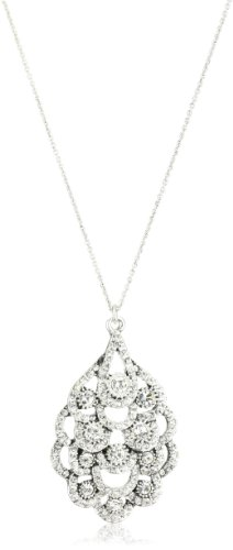 Nina Bridal Antique Silver Statement Pendant Necklace