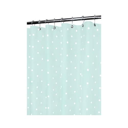 Classics Polyester Polka Dot Shower Curtain Color Seaglass White