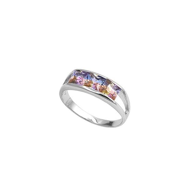 Princess Cut Rainbow Cubic Zirconia Three Stones Ring Sterling Silver Size 6