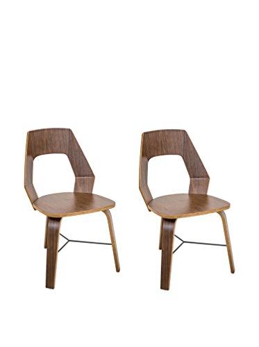 LumiSource Pair of Trilogy Mid Century Modern Chairs, Walnut