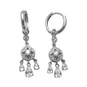 Sterling Silver with Cubic Zirconia Huggy Earring
