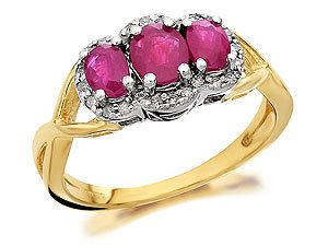 9ct Gold Ruby And Diamond Cluster Ring - 10pts - J