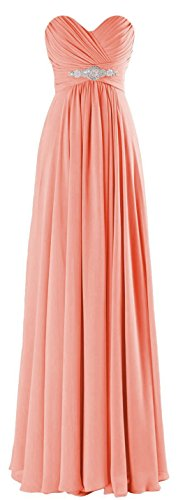 ThaliaDress Long Chiffon Sweetheart Evening Bridesmaid Dresses Prom Gowns T002LF Peach US16 (Peach Color Bridesmaid Dresses compare prices)