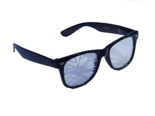 Brille im 'Wayfarer Style' im crashed Design mit klaren Gläsern * Nerd * Partybrille