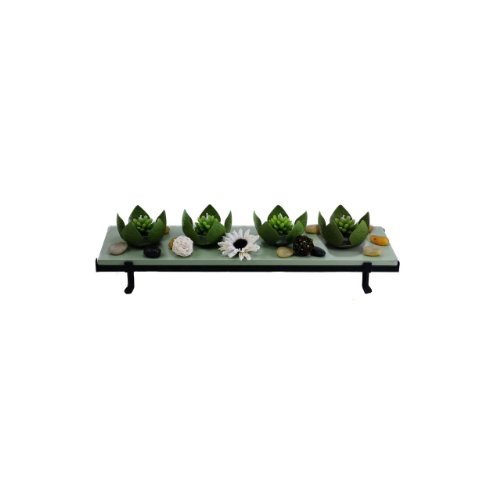 Essentials Décor Entrada Collection 4-Piece Tea Light Lotus Candle Holder Set with Rectangle Tray