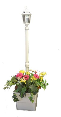 Solar Lamp Post with Square Planter - White Product SKU: SO30106